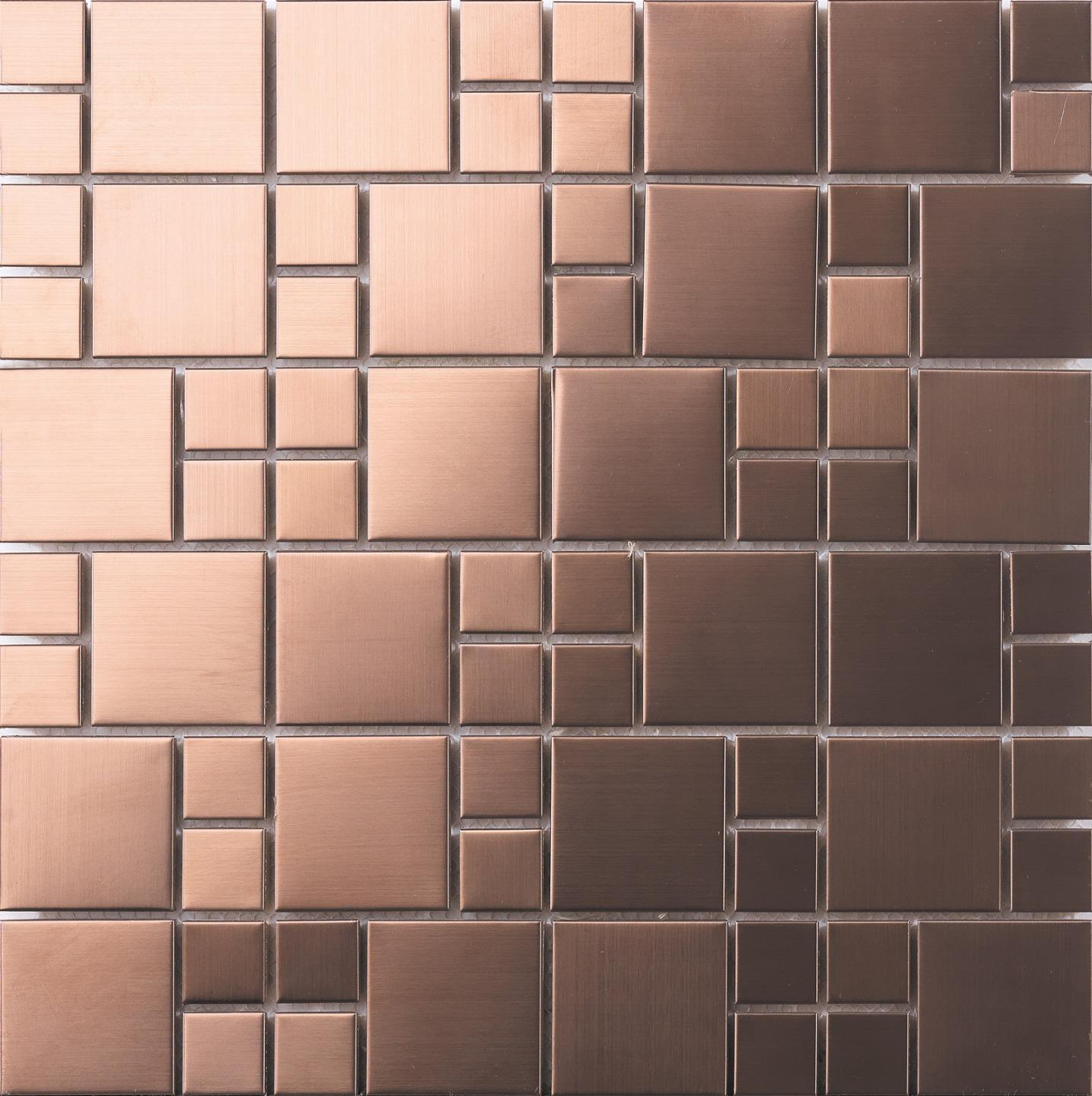 1 SQ M Brushed Copper Effect Stainless Steel Mosaic Tiles 0174