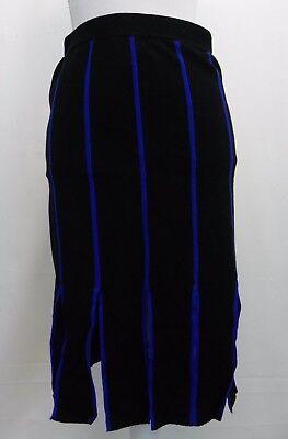 Grace Elements Womens Knit Sweater Skirt Carwash Fringe Black Blue Striped L
