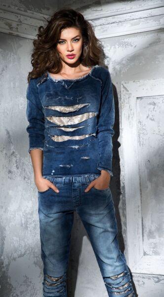 BY ALINA 2-Teiler Jeans Pullover Röhrenjeans Freizeitanzug Hose  34 – 38 #B88