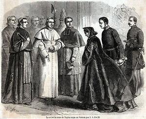 Xilografia-stampa-Francesco-II-Maria-Sofia-in-esilio-ricevuti-da-Pio-IX-1861