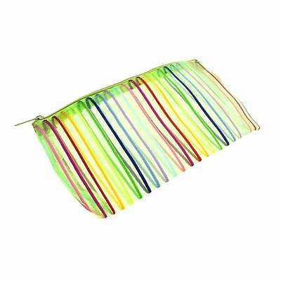 Fashion Nylon Mesh Rainbow Stripe Wallet Case Cosmetic Makeup Bag Portable Pouch