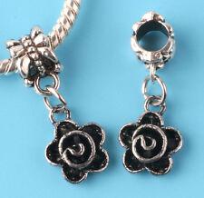 2pcs Tibetan silver flower Charm bead fit European Bracelet Pendant #D168