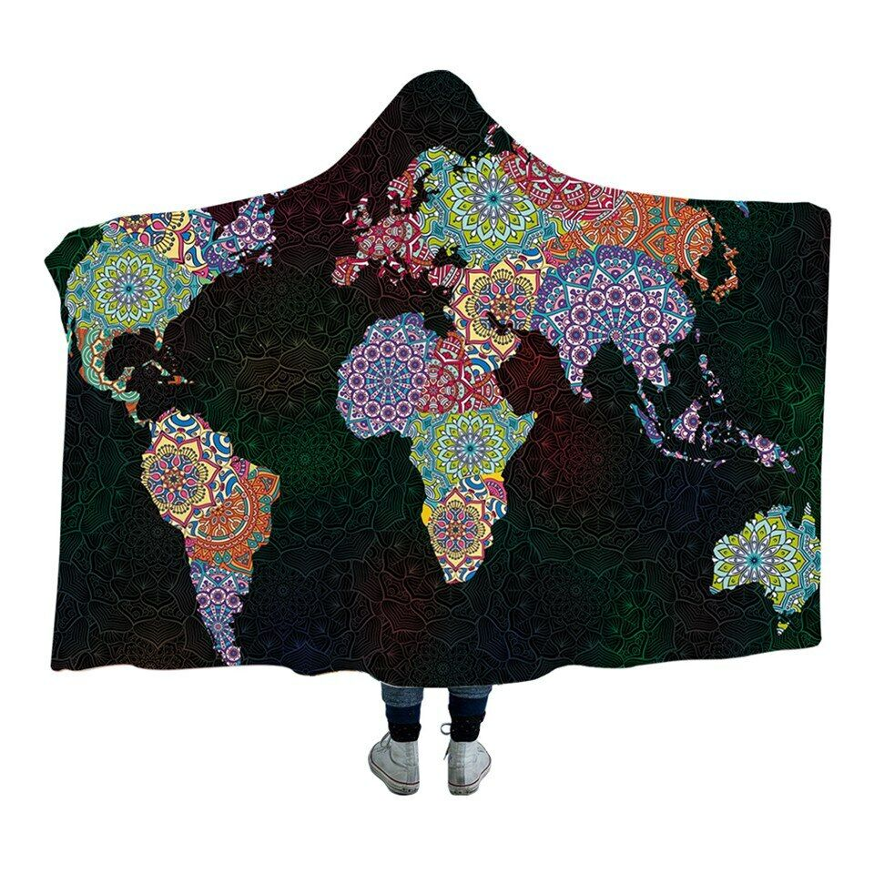 Mandala World Map Flowers Kids Adults Sherpa Fleece Fur Hooded Blanket Throw