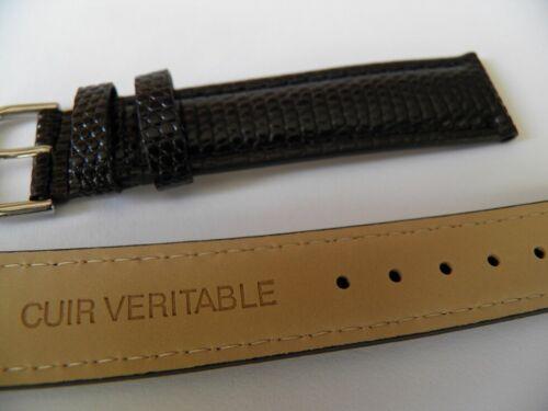 20 mm BRACELET COUSU EN CUIR VERITABLE FACON LEZARD NOIR FABRICATION FRANCAISE