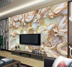 3D Jade Dragons 77 Wall Paper Murals Wall Print Wall Wallpaper Mural AU Kyra
