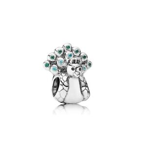 Genuine-Pandora-Charm-Sterling-Silver-Peacock-Bead-791227MCZ-Retired