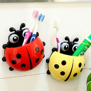 Ladybug Toothbrush Holder Cartoon Wall Suction Toothpaste Rack for Kid Bathroom