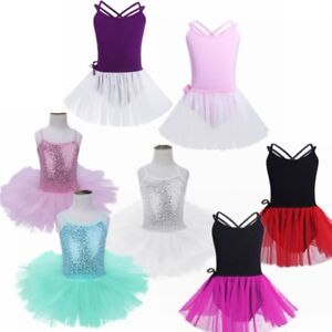 Girls-Ballerina-Sequin-Costume-Girl-Kid-Ballet-Dance-Dress-Leotard-Dancewear