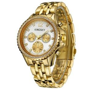 Kingsky-Studded-Goldtone-White-Dial-Women-039-s-Watches-121010-2