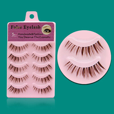 EF12 hot sale 5 pairs / box nature eye lashes Brown color False eyelashes