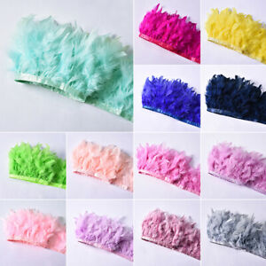 1M-Turkey-Feather-Fringe-Ribbon-Trim-Wedding-Stage-Decor-Craft-Sewing-26-Colors
