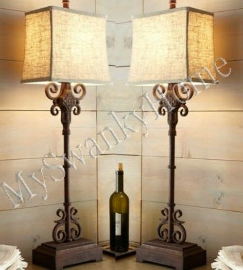 Horchow Spanish MONTERREY Table Lamp PAIR Set NEIMAN MARCUS Accent Buffet