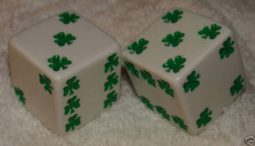"""1/"""" HUGE WHITE WITH GREEN SHAMROCKS OPAQUE DICE PAIR"""