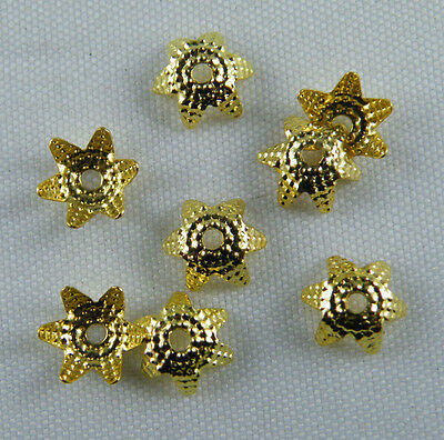 400pcs Silver/Gold Plated Flower Bead Caps 7x4mm S161 S162