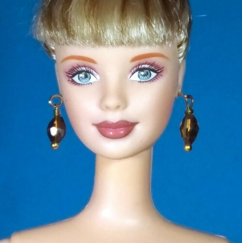 Barbie Dreamz CRYSTAL OVAL EARRINGS Faceted Doll Jewelry CHOICE of 12 COLORS