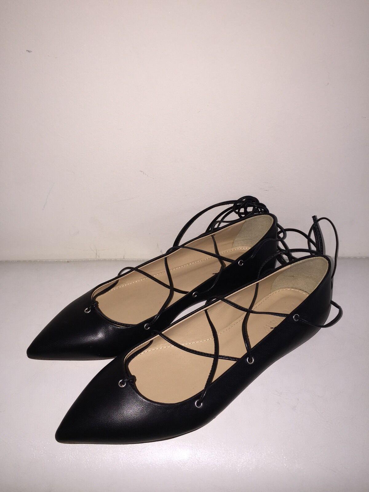 J CREW LEATHER LACE UP BALLET FLATS 158 Schuhe SZ-5.5 BLACK #F0281 NEU