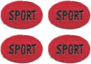 Lot De 4 Rouge Ovale Noir Sport Patch Brodé