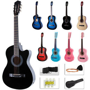 Beginners-Acoustic-Guitar-w-Guitar-Case-Strap-Tuner-amp-Pick-Steel-Nylon-Strings