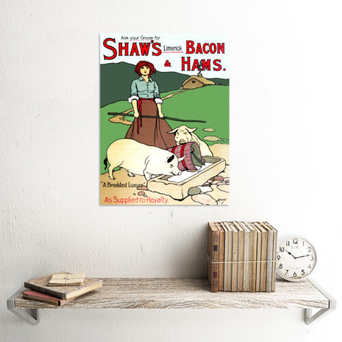 ADVERT FOOD MEAT SHAWS BACON HAM LIMERICK IRELAND PIG SWINEHERD POSTER CC6099