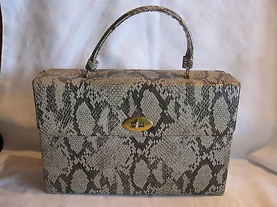 Comeco Style Cosmetic Box Purse Train Travel Bag Faux SNAKESKIN