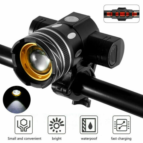T6 LED MTB Rear/&Front Set 15000LM Bicycle Lights Bike Headlight USB Rechargeable
