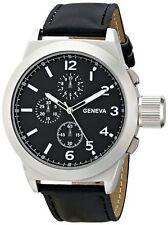 NEW Geneva 1668A-GEN Men's Titan Analog Display Quartz Black Leather Watch