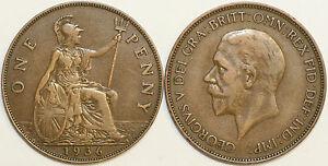 1911 To 1936 George V Bronze Penny Votre Choix de Date/année Multibuy