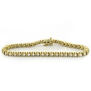 Estate-Diamond-Tennis-Bracelet-Bar-Setting-14K-Yellow-Gold-4-00-CTW-Diamonds-7-034
