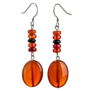 Sterling-Silver-Carnelian-Black-Onyx-Dangle-Earrings-Jewelry-Gifts-Mom-YE-05