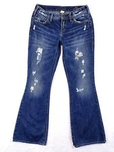 Silver-Jeans-AIKO-Womens-Size-27X30-Distressed-amp-Destroyed-Boot-Cut-Low-Rise