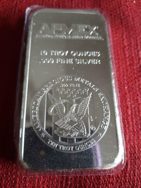 APMEX 10 Ounce oz .999 Silver Bar