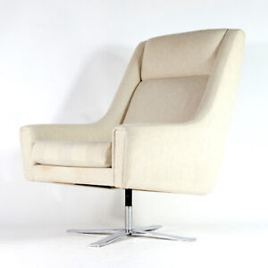 Retro Vintage Danish Wool & Chrome Leather Swivel Lounge Egg Chair Armchair 70s