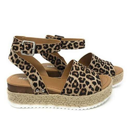 Women/'s Summer Beach Sandals Platform Leopard Print Ladies Espadrilles Shoes UK
