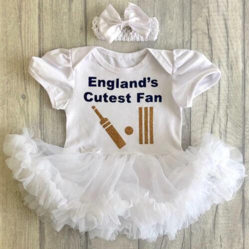 Navy Englands Cutest Fan Gold Cricket White Dress ENGLAND CRICKET TUTU ROMPER