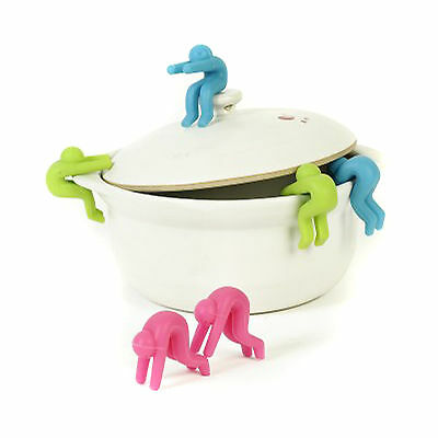 Silicone Little People Pot Lid Lifters Kitchen Tool - Set of 2 +Hook Y