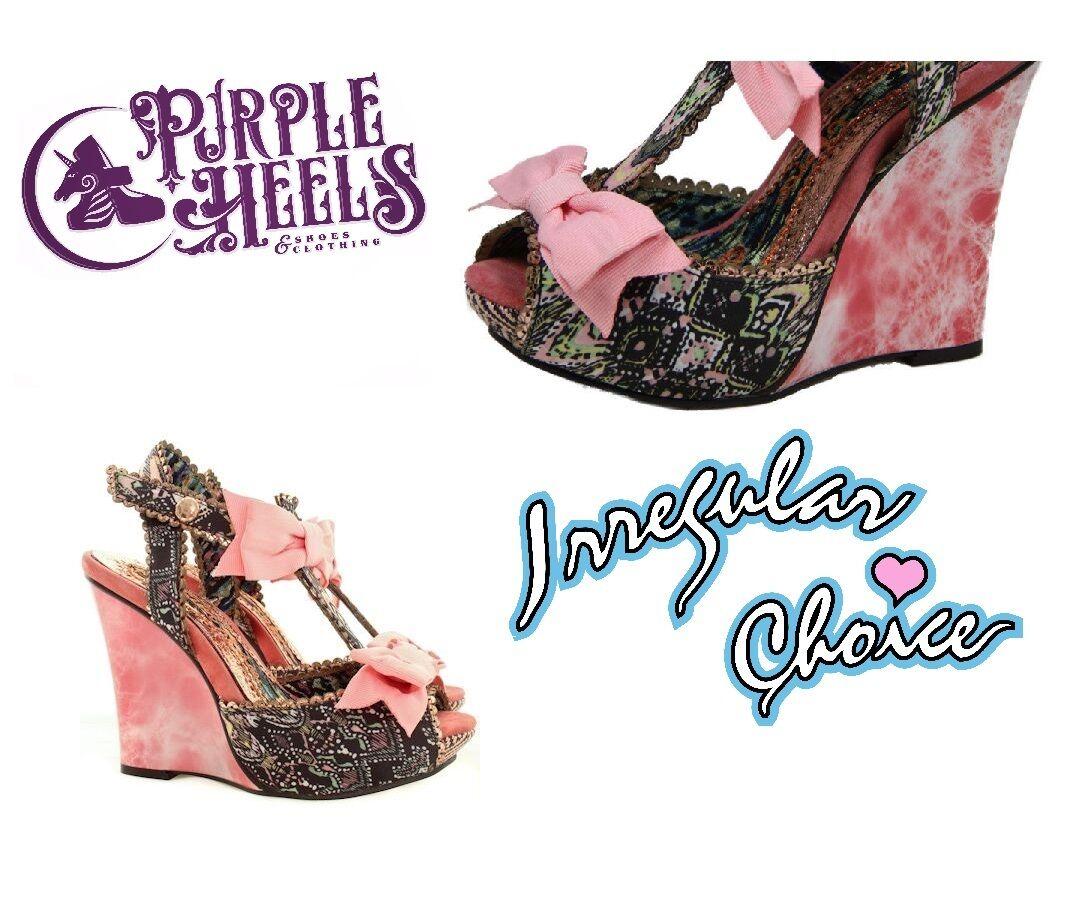 Irregular Choice le encanta Azteca & Pink Bow Cuña Efecto De Efecto Cuña De Mármol UK6.5/40 6acc29