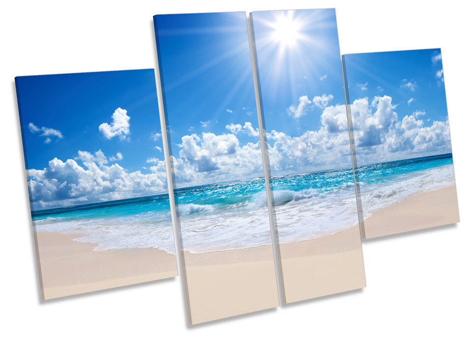 Sunset Beach Paradise CANVAS WALL ART MULTI Panel Picture Print