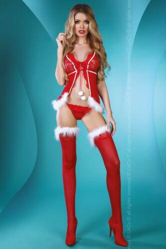 LIVCO CORSETTI Christmas Lady Sheer Babydoll Hold Ups and Matching G-String Set