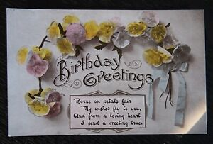 Vintage-Coloured-Postcard-1919-BIRTHDAY-GREETINGS-Written-unposted-VGC