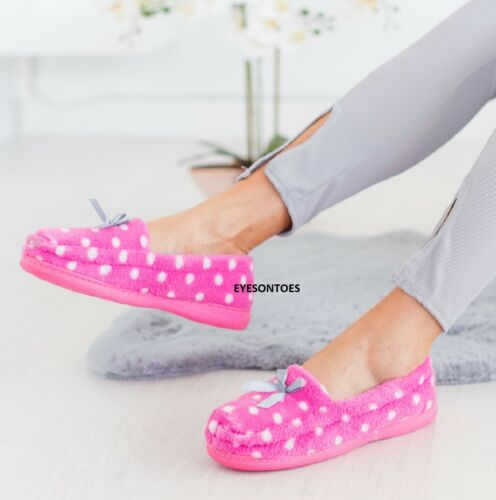WOMENS WARM MOCASSIN HARD SOLE FLAT LADIES LIGHTWEIGHT WINTER SLIPPER SIZE 3-8