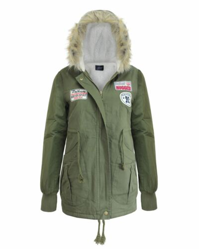 Faux Womens 10 Jacket Fur Frakke 14 Green Hooded 16 12 8 Patches Ladies Military Parkas 4qxC5n4Tw