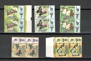 Malaysia Pahang Butterflies 1977 Harrison Print Complete Set Block 2 MNH