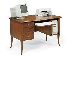 Scrivania porta pc ufficio in legno noce arte povera 130 for Scrivania legno