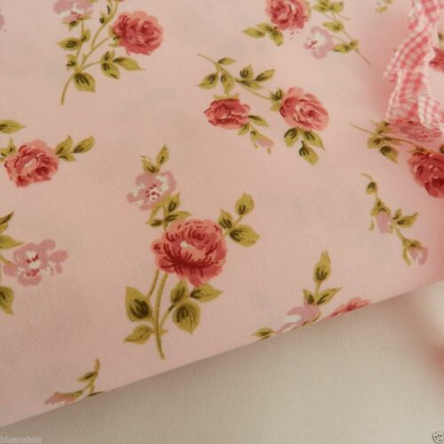 sold per half metre Rosebud Pink floral 100/% Cotton Fabric fat quarter
