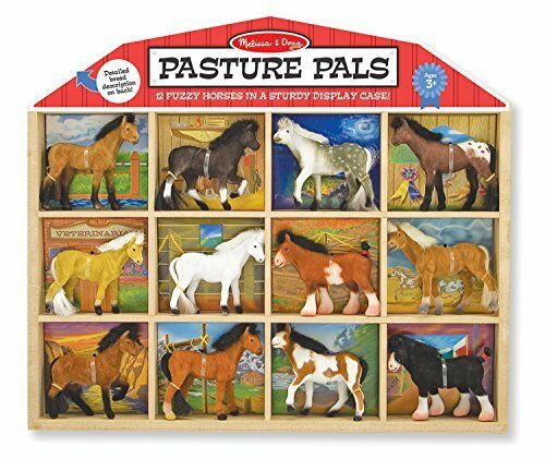12 Collectible Horses With Wooden Barn-Shaped Cra Melissa /& Doug Pasture Pals