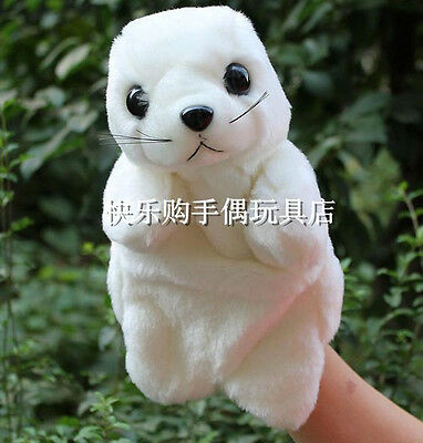 Lovely pure white sea lion plush hand puppet hand puppets cosplay new LA27