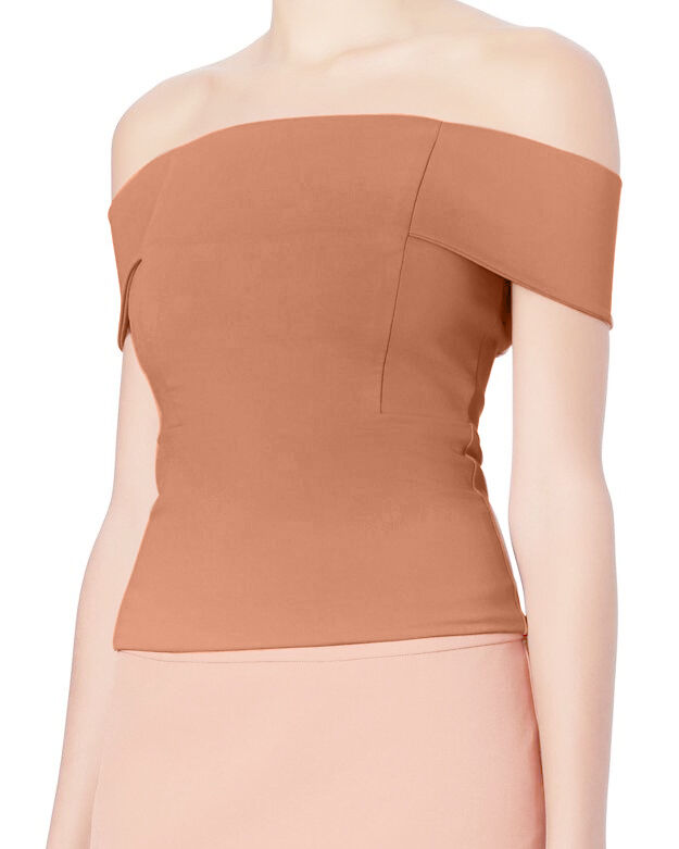 Michelle Mason Women's Nude Beige Off-Shoulder Cold Short Sleeves Top Sweater