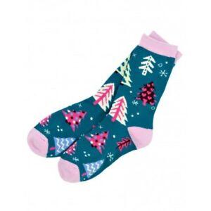 Hatley-Crew-Socks-WOMENS-Medium-9-11-Teal-PATTERNED-TREES-Christmas-Holiday