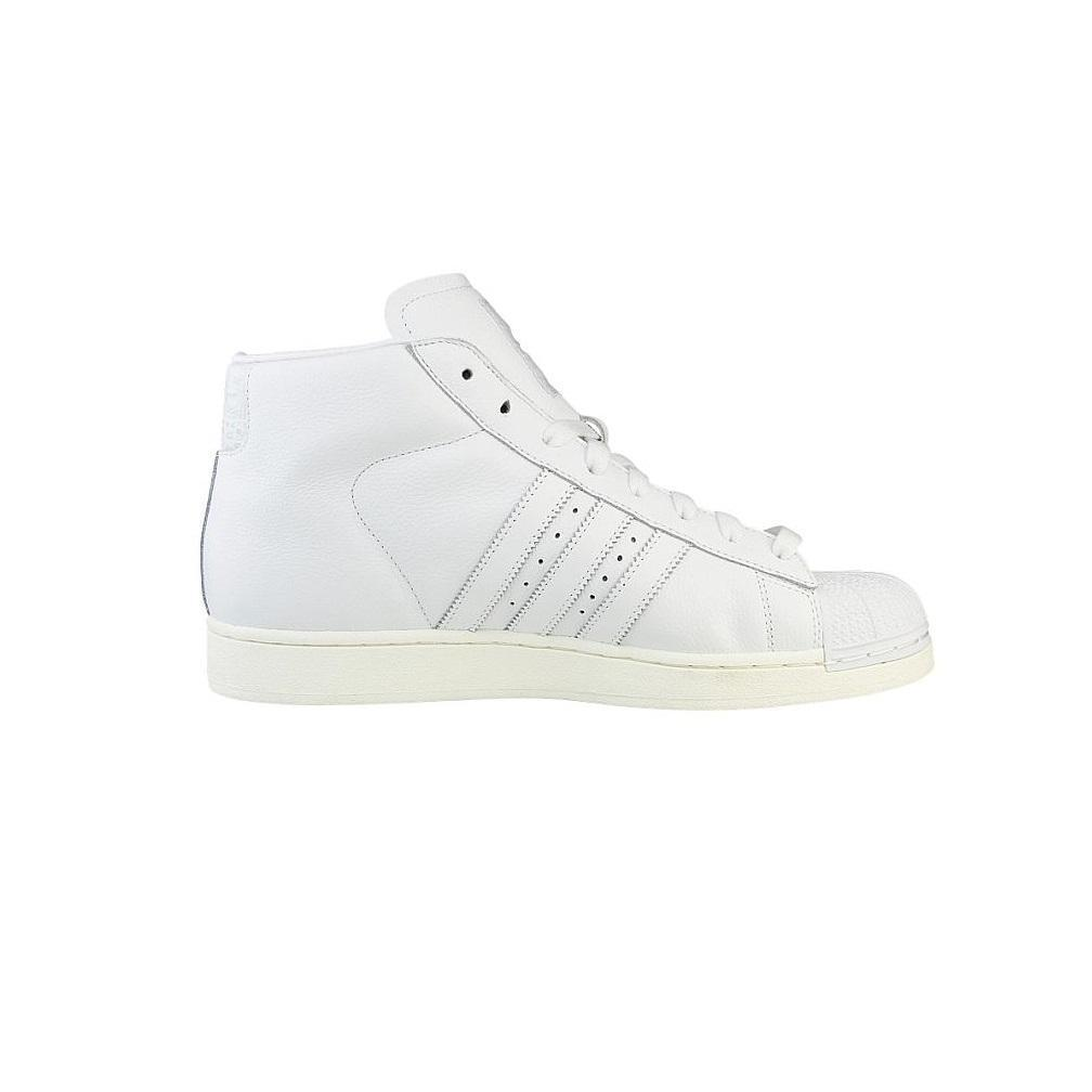 Mens ADIDAS PRO MODEL White Leather Hi Top Trainers B25424