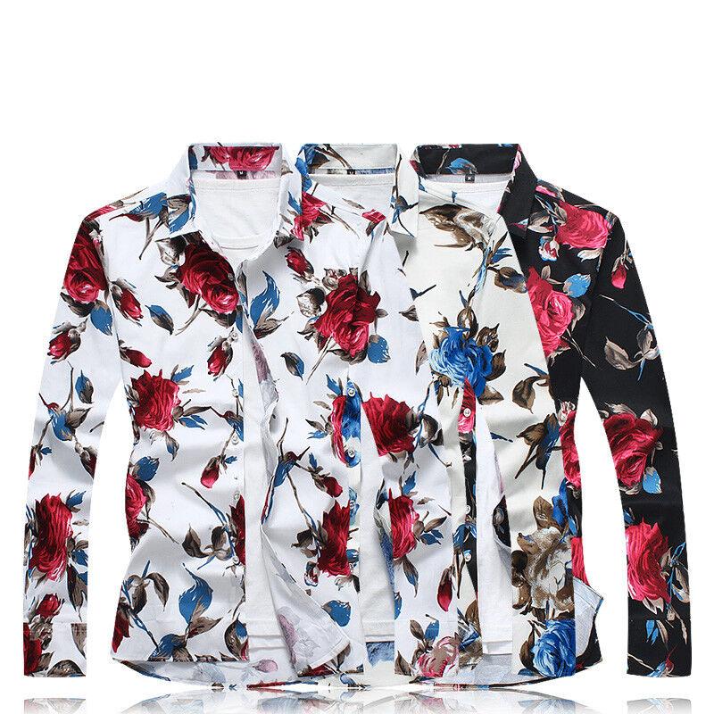 Luxury Men Floral Shirts Casual Long Sleeve Designer Hawaiian Fancy Flower Shirt